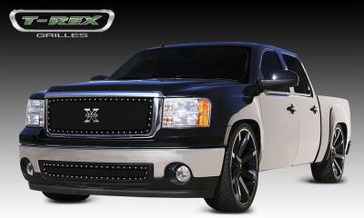 X-Metal Series Grilles - T-REX Grilles - GMC Sierra X-METAL Series - Studded Main Grille - ALL Black - Pt # 6712051