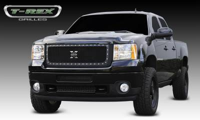 X-Metal Series Grilles - T-REX Grilles - GMC Sierra HD X-METAL Series - Studded Main Grille - ALL Black - Pt # 6712091