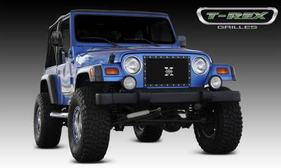 X-Metal Series Grilles - T-REX Grilles - Jeep Wrangler X-METAL Series - Studded Main Grille - ALL Black - 1 Pc Custom Cut Center Bars - Pt # 6714901