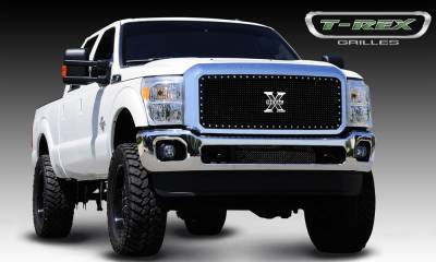 X-Metal Series Grilles - T-REX Grilles - Ford Super Duty X-METAL Series - Studded Main Grille - Black - 1 Pc - Pt # 6715461
