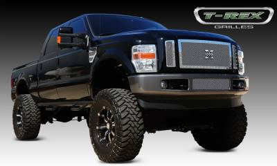 X-Metal Series Grilles - T-REX Ford Super Duty X-METAL Series - Studded Main Grille - Polished SS - 3 Pc - Pt # 6715630