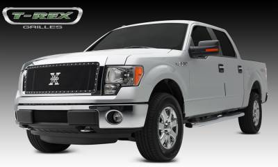 X-Metal Series Grilles - T-REX Grilles - Ford F-150 X-METAL Series - Formed Mesh Grille, Main, Insert, 1 Pc, All Black Steel, Requires Center Bars Cutting  on OEM shell - Pt # 6715721
