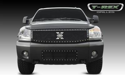 X-Metal Series Grilles - T-REX Grilles - Nissan Titan and Armada X-METAL Series - Studded Main Grille - ALL Black   - Custom 1 Pc Replaces OE Grille - Pt # 6717791