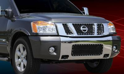 X-Metal Series Grilles - T-REX Grilles - Nissan Titan X-METAL Series - Studded Main Grille - ALL Black - 3 Pc - with Logo Opening - Pt # 6717811