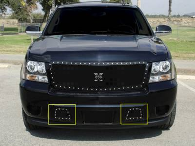 X-Metal Series Grilles - T-REX Chevrolet Avalanche X-METAL Series - Studded Bumper Grille - ALL Black - Pt # 6720511