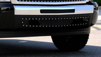 T-REX Grilles - Chevrolet Silverado 1500 X-METAL Series - Studded Bumper Grille - ALL Black - 2007-2010 HD & 2009-2013 Silverado 1500 Models - Pt # 6721101