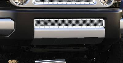 T-REX Grilles - 2007-2014 Toyota FJ Cruiser X-Metal Bumper Grille, Polished, 1 Pc, Overlay, Chrome Studs - PN #6729320