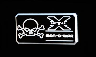 "Accessories for Trucks & Cars - Logo Billet Accessories - T-REX ALL Most Vehicles ""Man-O-War"" Series - Body Side Badges - 1 Pc - Black/ Machine - Pt # 6800013"