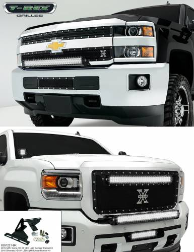 Torch Tech LED Lighting Solutions - T-REX Chevrolet Silverado HD TORCH Series LED Light Bracket Kit, No LED Light Included, Center Bumper Assembly,  Black Powdercoated Mild Steel - Pt # 6391221-BK