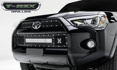 "Torch Series Grilles - T-REX Toyota 4 Runner TORCH Series LED Light Grille 1 - 20"" Light Bar, Formed Mesh Grille, Main & Bumper Kit, 3 Pc's, Black Powdercoated Mild Steel - Pt # 6319491"