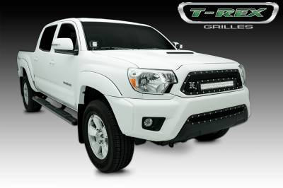 "T-REX Grilles - 2012-2015 Tacoma Torch Grille, Black, 1 Pc, Insert, Chrome Studs, Incl. (1) 20"" LED - PN #6319381"