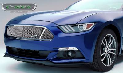 Upper Class Series Grilles - T-REX Grilles - Ford Mustang GT - Upper Class - Formed Mesh Grille,  Main Partitioned with Polished Stainless Steel - Pt # 54529