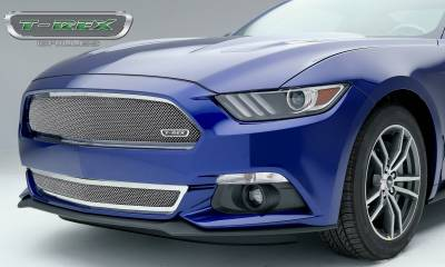 Upper Class Series Grilles - T-REX Grilles - Ford Mustang GT  Upper Class, Formed Mesh Grille, Bumper, Overlay, 1 Pc, Polished Stainless Steel - Pt # 55530