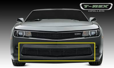 Billet Series Grilles - T-REX Chevrolet Camaro RS Billet Grille, Bumper, Overlay, 1 Pc, Black Powdercoated Aluminum Bars - Pt # 25031b