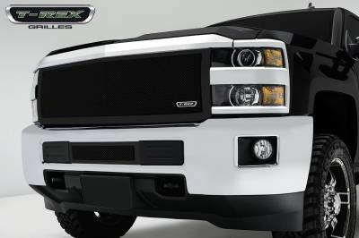 Upper Class Series Grilles - T-REX Chevrolet Silverado HD Upper Class, Formed Mesh Grille, Main, Insert, 1 Pc, Black Powdercoated Mild Steel - Pt # 51123