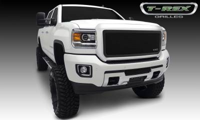 Upper Class Series Grilles - T-REX Grilles - GMC Sierra HD Upper Class, Formed Mesh Grille, Main, Insert, 1 Pc, Black Powdercoated Mild Steel - Pt # 51211