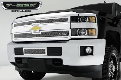 Upper Class Series Grilles - T-REX Chevrolet Silverado HD Upper Class Polished Stainless Bumper Mesh Grille - Pt # 55122