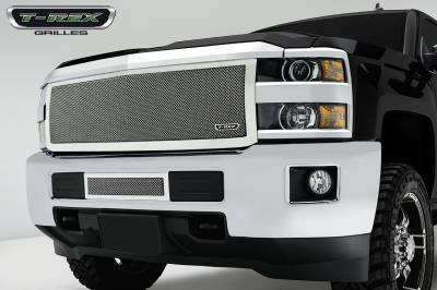 Upper Class Series Grilles - T-REX Chevrolet Silverado HD Upper Class, Formed Mesh Grille, Main, Insert, 1 Pc, Polished Stainless Steel - Pt # 54123