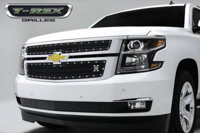 X-Metal Series Grilles - T-REX Grilles - Chevrolet Suburban, Tahoe X-METAL Series - Studded Main Grille - ALL Black - 2 Pc Style - Pt # 6710551