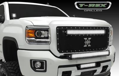 "Torch Tech LED Lighting Solutions - T-REX GMC Sierra HD TORCH Series LED Light 1 - 12"" LED Bar, Mounts in Bumper, Black Powdercoated Mild Steel - Pt # 6392111"
