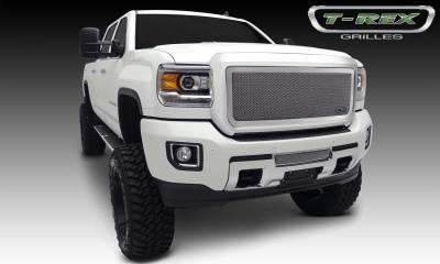 Upper Class Series Grilles - T-REX Grilles - GMC Sierra HD Upper Class, Formed Mesh Grille, Main, Insert, 1 Pc, Polished Stainless Steel - Pt # 54211