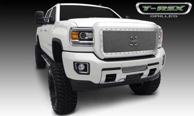 X-Metal Series Grilles - T-REX GMC Sierra HD X-Metal, Formed Mesh Grille, Main, Insert, 1 Pc, Polished Stainless Steel - Pt # 6712110