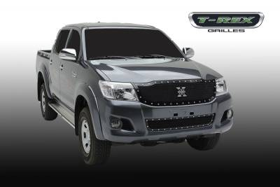 X-Metal Series Grilles - T-REX Toyota Hilux X-METAL, Formed Mesh Grille, Main, Replacement, 1 Pc, Black Powdercoated Mild Steel - Pt # 6719091