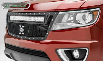 "T-REX Grilles - 2015-2019 Chev Colorado Torch Grille, Black, 1 Pc, Replacement, Chrome Studs, Incl. (1) 30"" LED - PN #6312671"