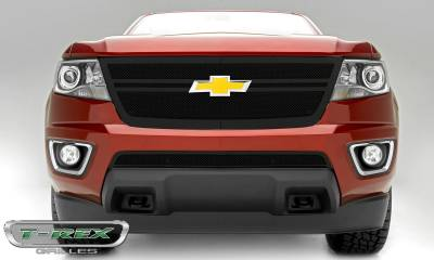 T-REX Grilles - Chevrolet Colorado - Upper Class Series - Center 2 Bar Design - Replacement Main Grille with Black Powdercoat Finish - Pt # 51268