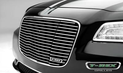 Laser Billet Grilles - T-REX Grilles - Chrysler 300 - Billet Series / Laser Cut - Main Grille Replacement with Black Powder Coat Aluminum Bars and Polished Face - Pt # 6214360