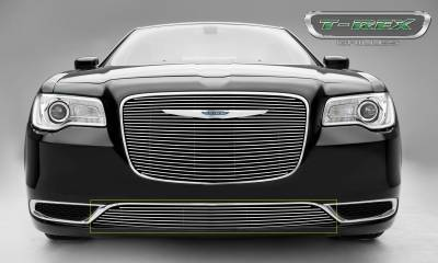 T-REX Grilles - Chrysler 300 - Billet Series - Bumper Grille Overlay with Black Powder Coat Aluminum Bars and Polished Face - Pt # 25436