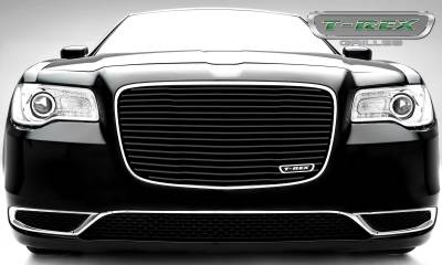 Laser Billet Grilles - T-REX Grilles - Chrysler 300 - Billet Series / Laser Cut - Main Grille Replacement with Black Powder Coat Aluminum Bars - Pt # 6214361