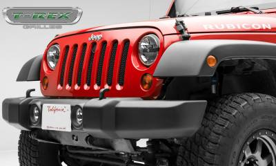 Sport Series Grilles - T-REX Grilles - Jeep Wrangler - Sport Series - Formed Mesh Grille - with Accommodating Hood Lock Outlet - Black - Pt # 46482