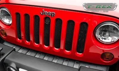 T-REX Grilles - 2007-2018 Jeep JK, JKU Sport Grille, Black, 1 Pc, Bolt-On, with Accommodating Hood Lock Outlet  - PN #46482 - Image 4
