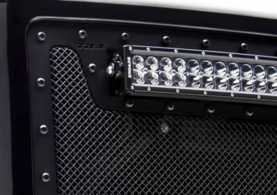 "Stealth Metal Grilles - T-REX Chevrolet Silverado HD Torch Series LED Light Grille 2 - 12"" LED Bar, Formed Mesh Main Grille Insert, 1 Pc, Black Powdercoated with Tactical Black Studs - Pt # 6311231-BR"