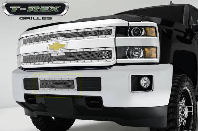 X-Metal Series Grilles - T-REX Grilles - Chevrolet Silverado HD X-METAL Series - Studded Bumper Grille - Polished SS - Pt # 6721220