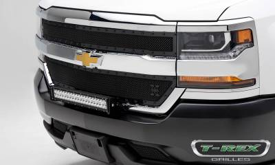 Stealth Series Grilles - T-REX Grilles - Chevrolet Silverado 1500 X-METAL Series, STEALTH METAL - Blacked Out All Black, 2 Pc Main Grille Overlay - Pt # 6711281-BR