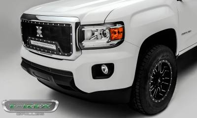 "T-REX Grilles - 2015-2019 GMC Canyon Torch Grille, Black, 1 Pc, Insert, Chrome Studs, Incl. (1) 20"" LED - PN #6313711 - Image 2"
