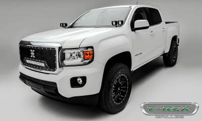 "T-REX Grilles - 2015-2019 GMC Canyon Torch Grille, Black, 1 Pc, Insert, Chrome Studs, Incl. (1) 20"" LED - PN #6313711 - Image 3"