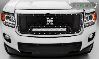 "T-REX Grilles - 2015-2019 GMC Canyon Torch Grille, Black, 1 Pc, Insert, Chrome Studs, Incl. (1) 20"" LED - PN #6313711 - Image 5"