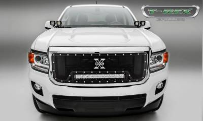 "T-REX Grilles - 2015-2019 GMC Canyon Torch Grille, Black, 1 Pc, Insert, Chrome Studs, Incl. (1) 20"" LED - PN #6313711 - Image 4"