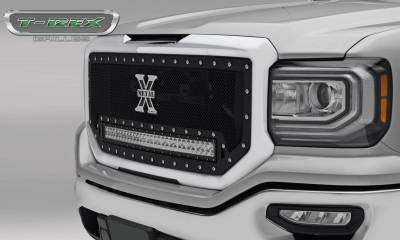 "Torch Series Grilles - T-REX GMC Sierra 1500 TORCH Main Grille Insert, w/ (1) 30"" LED Light Bar - Black - Pt # 6312131"