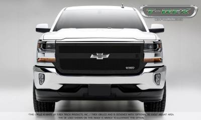 T-REX Grilles - 2016-2018 Silverado 1500 Stealth X-Metal Grille, Black, 1 Pc, Replacement, Black Studs, 1 Bar Design - PN #6711291-BR - Image 2
