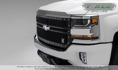 T-REX Grilles - 2016-2018 Silverado 1500 X-Metal Grille, Black, 1 Pc, Replacement, Chrome Studs, 2 Bar Design - PN #6711301 - Image 3