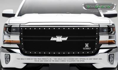 T-REX Grilles - 2016-2018 Silverado 1500 X-Metal Grille, Black, 1 Pc, Replacement, Chrome Studs, 2 Bar Design - PN #6711301