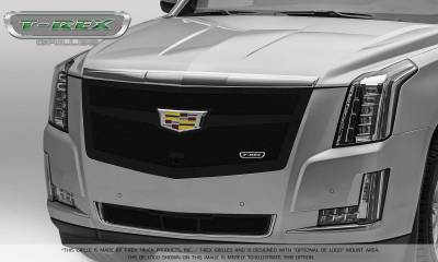 T-REX Grilles - 2015-2019 Escalade Upper Class Grille, Black with Brushed Center Trim Piece, 1 Pc, Replacement, Fits Vehicles with Camera - PN #51181