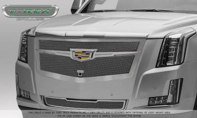 T-REX Grilles - 2015-2019 Escalade Upper Class Grille, Chrome with Brushed Center Trim Piece, 1 Pc, Replacement, Fits Vehicles with Camera - PN #56189