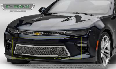 Upper Class Series Grilles - T-REX Grilles - Chevrolet Camaro SS - Upper Class - Bumper Grille Overlay with Polished Stainless Steel - Pt # 55036