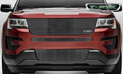 Laser Billet Grilles - T-REX Ford Explorer  Laser Billet Series Replacement Main Grille w/o Logo Recess, Polished. Does not fit with forward facing camera. - Pt # 6216650