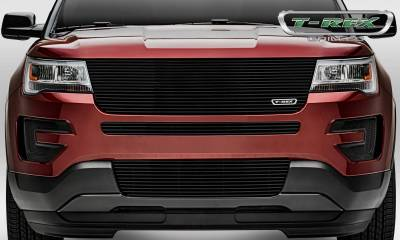 Laser Billet Grilles - T-REX Ford Explorer Laser Billet Series Replacement Main Grille w/o Logo Recess Black Powder Coated. Does not fit with forward facing camera. - Pt # 6216651